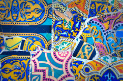 Antoni Gaudi park. Details of a colorful ceramic at Parc Guell designed by Antoni Gaudi, Barcelona, Spain stock photography