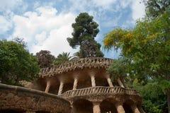 Antoni Gaudi in park Guell walk way Stock Photos
