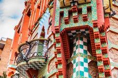 Antoni Gaudi`s designed Vicens House. BARCELONA - MARCH, 2018: Antoni Gaudi`s designed Vicens House in Barcelona, Spain Royalty Free Stock Images