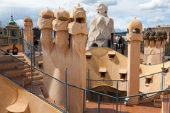Antoni Gaudi's work at the roof of Casa Mila Royalty Free Stock Photos