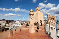 Antoni Gaudi's work at the roof of Casa Mila Stock Images