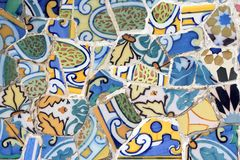 Antoni Gaudi work from Park Guell in Barcelona. Beautiful ceramic textures royalty free stock image