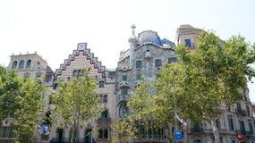 Antoni Gaudis berömd Casa Batllo i Barcelona Arkivbild