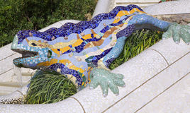 Antoni Gaudy's salamander, Park Guell in Barcelona, Spain Royalty Free Stock Images
