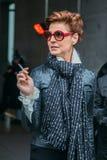 Antonia Dell'Atte Αφότου παρουσιάζει ο Armani F/W το 2016 Στοκ Φωτογραφία