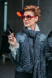 Antonia Dell'Atte После выставки F/W 2016 Armani Стоковая Фотография