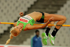 Antonia Stergiou of Greece. During High Jump Event of Barcelona Athletics meeting at the Olympic Stadium on July 22, 2011 in Barcelona, Spain Stock Photos