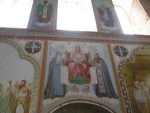 Antonievo-Verkalsky kloster Återställande av templet Unika frescoes Arkivbilder