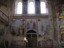 Antonievo-Verkalsky kloster Återställande av templet Unika frescoes Arkivfoto