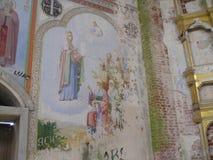 Antonievo-Verkalsky kloster Återställande av templet Unika frescoes Arkivbild