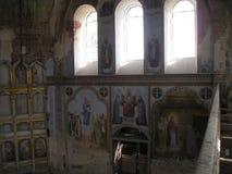 Antonievo-Verkalsky kloster Återställande av templet Unika frescoes Royaltyfria Bilder