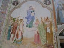 Antonievo-Verkalsky monaster Przywrócenie świątynia Unikalni frescoes Zdjęcia Royalty Free