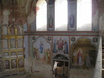 Antonievo-Verkalsky monaster Przywrócenie świątynia Unikalni frescoes obrazy royalty free
