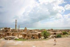 Antonine Baths with Mediterranean Sea Royalty Free Stock Photo