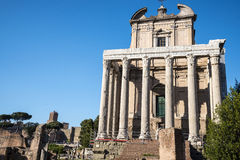 The  Antonino and Faustus Temple in  the Ancient Forum in Rome Italy. Rome Italy, the Eternal city, which has been a destination for tourists since the times of Stock Image
