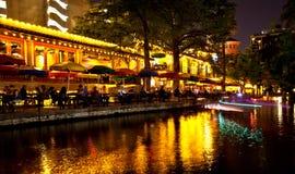 antonio晚上riverwalk圣 图库摄影