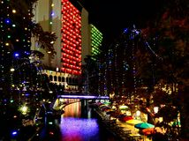 antonio晚上riverwalk圣 免版税库存图片
