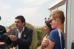 Antonio Banderas and Melanie Griffith during a charity visit stock images