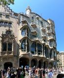 Antonio Gaudí`s Casa Batllo the house of bones, Barcelona. Barcelona, Spain - Illa de la Discordia. Facade Casa Batllo, Lleo Morera, Rocamora, Amatller in royalty free stock photos