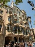 Antonio Gaudí`s Casa Batllo the house of bones, Barcelona. Barcelona, Spain - Illa de la Discordia. Facade Casa Batllo, Lleo Morera, Rocamora, Amatller in stock photo