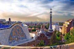 Antonio Gaudi在公园Guell,巴塞罗那 库存照片