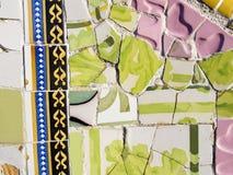 Antonio Gaudi马赛克背景 免版税库存图片