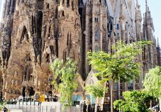 Antonio Gaudi cathedral in Barcelona,Catalunya. Spanish architect Gaudi design the amazing cathedral build in 1882.Still not finish in 2016.Named in spanish La royalty free stock photo