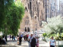 Antonio Gaudi cathedral in Barcelona,Catalunya. Spanish architect Gaudi design the amazing cathedral build in 1882.Still not finish in 2016.Named in spanish La stock images