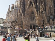 Antonio Gaudi cathedral in Barcelona,Catalunya. Spanish architect Gaudi design the amazing cathedral ibuild in 1882.Still not finish in 2016.Named in spanish La stock image