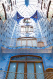 Antonio Gaudi house Casa Batllo interior details – inner blue second-level space Royalty Free Stock Photos
