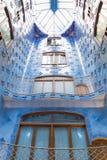 Antonio Gaudi house Casa Batllo interior details – inner blue second-level space Royalty Free Stock Photos