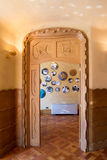 Antonio Gaudi house Casa Batllo interior details – inner carved door Royalty Free Stock Photography