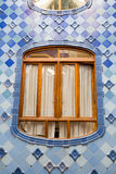 Antonio Gaudi house Casa Batllo interior details – widow in inner second-level space Royalty Free Stock Photo