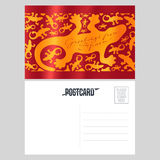 Antonio Gaudi lizard, gecko vector postcard template Stock Image