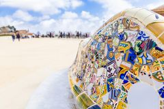 Antonio Gaudi mosaic work on main terrace at Park Guell, Barcelona, Spain. stock photography