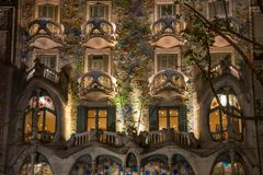 Antonio Gaudi's famous Casa Battlo, illuminated at night, on November 24, 2012 in Barcelona, Spain Royalty Free Stock Image