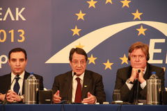 Antonio Lopez-Isturiz and Nicos Anastasiades. Antonio Lopez-Isturiz, Secretary General of the European People's Party and Nicos Anastasiades, Candidate stock images