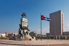Antonio Maceo memorial monument. With a waving Cuban flag at the Malecón waterfront in La Havana Cuba. Antonio Maceo was the second in command in the Cuban Royalty Free Stock Image