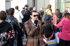 Antonio nieto Milano,milan fashion week streetstyle autumn winter 2015 2016 Stock Images