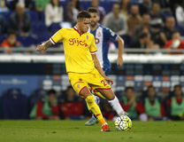 Antonio Sanabria of Sporting Gijon. During a Spanish League match against RCD Espanyol at the Power8 stadium on October 3 2015 in Barcelona Spain Royalty Free Stock Image