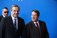 Antonis Samaras and Nicos Anastasiades. Prime Minister of Greece Antonis Samaras and Nicos Anastasiades, Candidate for President of Cyprus in Presidential stock images