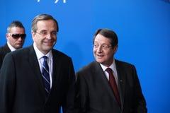 Antonis Samaras and Nicos Anastasiades Stock Images