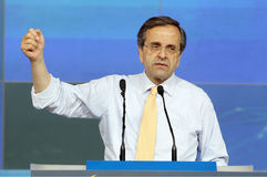 Antonis Samaras in Thessaloniki. THESSALONIKI,GREECE - June,14: Leader of New Democracy Antonis Samaras speaks during a concentration pre-election in Stock Photography
