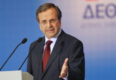 Antonis Samaras in Thessaloniki Royalty Free Stock Photo