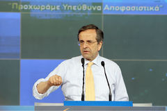 Antonis Samaras in Thessaloniki. THESSALONIKI,GREECE - June,14: Leader of New Democracy Antonis Samaras speaks during a concentration pre-election in Royalty Free Stock Photo