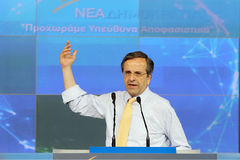 Antonis Samaras in Thessaloniki. THESSALONIKI,GREECE - June,14: Leader of New Democracy Antonis Samaras speaks during a concentration pre-election in Royalty Free Stock Photography