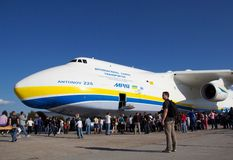 Antonov An-225. KYIV, UKRAINE - SEPTEMBER 29: An-225 and undefined people during 8th International Aviation Salon AVIASVIT-XXI;September  29, 2012 in Kyiv Stock Image