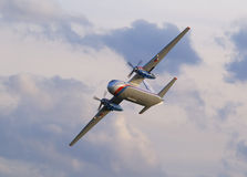 Antonov An-24. Flying during airshow in Prague royalty free stock photography