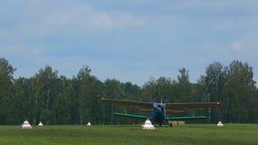 Antonov-2 biplane on aerodrome stock video