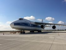 Antonov AN 124-100 on Chopin Airport in Warsaw Cargo Terminal Stock Image